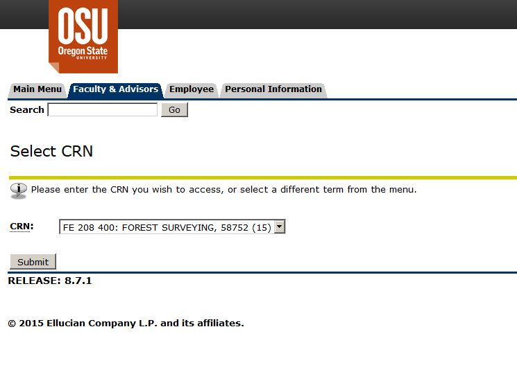 Screen shot of Select CRN